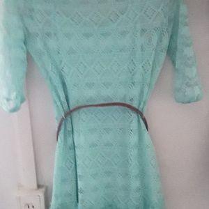 🌻 Wallflower Lace Crochet Dress W/ Belt Sz Small